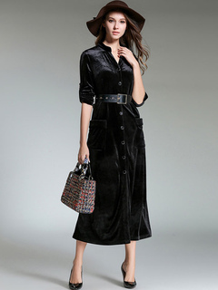 Black Shirt Dresses V Neck Long Sleeve Maxi Dress For Women