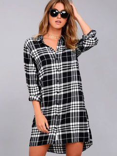 Black Shirt Dress Plaid Long Sleeve Turndown Collar Cut Out Backless Shift Dresses For Women
