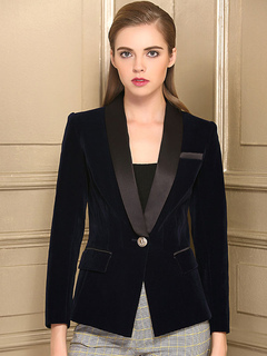 Women Blazer Deep Blue Long Sleeve Shawl Collar Tuxedo
