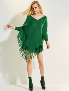 Women Poncho Wool Green V Neck Long Sleeve Knit Top