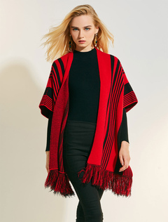Red Wool Poncho Striped Fringe Half Sleeve Knit Cape For Women
