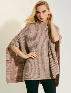 Women Sweater Poncho Wool Brown High Collar Half Sleeve Knit Top