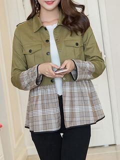 Women Windbreaker Jacket Long Sleeve Turndown Collar Hunter Green Plaid Spring Jackets