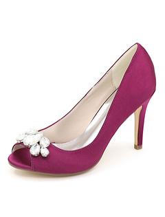 Purple Mother Shoes Satin Peep Toe Rhinestones Wedding Shoes High Heel  Wedding Guest Shoes