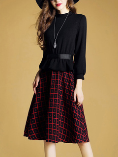 Red Skater Dress Plaid Round Neck Long Sleeve A Line Dresses For Women