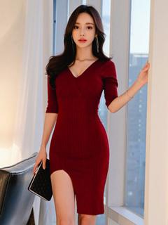 Knit Sweater Dress Burgundy V Neck Half Sleeve Split Bodycon Dresses For Women