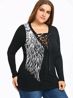 ba307aa05 Roupas femininas tamanho Grande para mulher para informal decote V com  mangas compridas de algodão