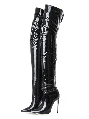 90e5c4eccb8 Black Over Knee Boots High Heel Boots Pointed Toe Patent Leather Thigh High  Boots