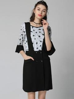 Black Dress Set Short Jumper Skirt With Round Neck Half Sleeve Floral Print Top For Women