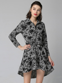 Women Shirt Dress Grey Long Sleeve Turndown Collar Embroidered Plaid High Low Short Dresses