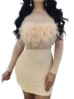 Women Bodycon Dresses Tulle Semi Sheer Feathers Crewneck Long Sleeve Ecru White Club Dress