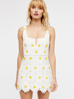 White Summer Dress Lace Flowers Notched Neck Sleeveless Short Dresses For Women
