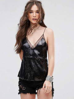 Black Cami Top Sequins Straps Sleeveless Top For Women