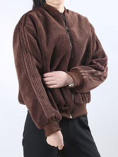 Women Shearling Jacket Long Sleeve Stand Collar Dark Brown Varsity Jacket Teddy Coat