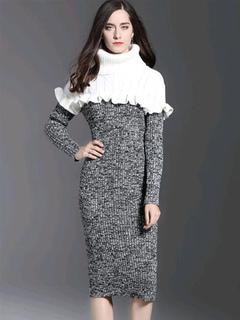 Women Jumper Dress Cotton High Collar Long Sleeve Frill Color Block Sweater Dress