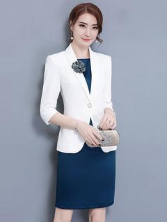 2 Piece Dress Set Shawl Collar 3/4 Sleeve 3D Flower White Overcoat With Sleeveless Bodycon Dress
