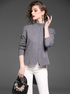 Women Pullover Sweater Grey High Collar Long Sleeve High Low Split Knit Top