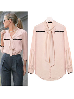 Women Casual Shirt Lace Long Sleeve Soft Pink Pussy Bow Blouse