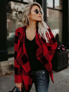 Red Waterfall Jacket Plaid Long Sleeve Knit Jackets For Women