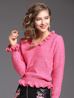 Women Pullover Sweater Rose V Neck Long Sleeve Ruffles Knit Top