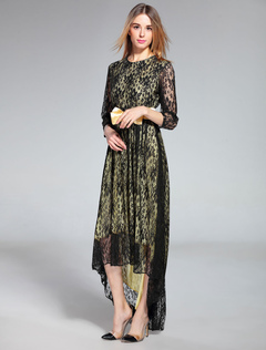 Black Lace Dress Bows Round Neck Long Sleeve High Low Maxi Dresses For Women