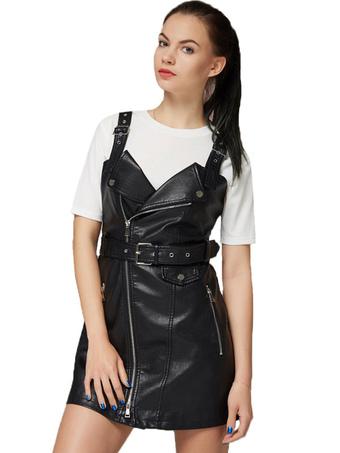 Black Mini Dresses Leather Like Straps Zipper Sleeveless Belt Short Dress For Women