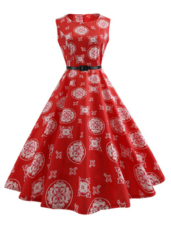 Red Vintage Dress 1950s Round Neck Sleeve Printed A Line Dresses For Women