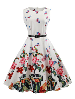 White Vintage Dress Floral Print Round Neck Sleeveless A Line Dresses For Women
