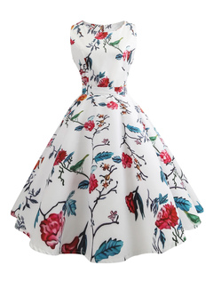 White Vintage Dress Floral Print Round Neck Sleeveless A Line Tea Dresses For Women
