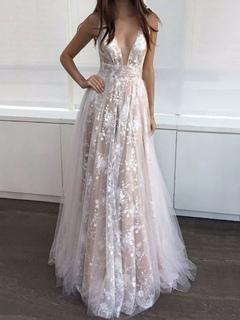 fe1f9ecbe08e Lace Maxi Dress Women Formal Dress Apricot Plunging Sleeveless Prom Dress