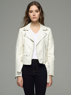 White Moto Jacket Notch Collar Long Sleeve Buckled Short Jackets For Women