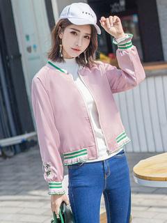Women Varsity Jacket Pink V Neck Long Sleeve Embroidered Short Spring Jackets