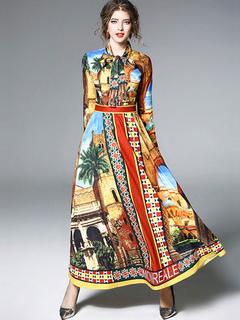 Women Maxi Dress Yellow Designed Neckline Long Sleeve Printed Long Dress