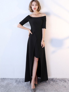 Black Maxi Dress Women Formal Dress Off The Shoulder Half Sleeve High Low Long Dress