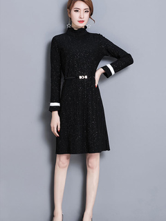 Black Skater Dress High Collar Long Sleeve Pleated Flare Dress For Women