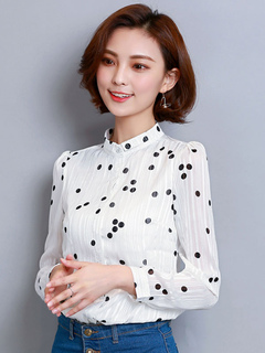 White Blouse Long Sleeve Stand Collar Polka Dot Print Chiffon Top For Women