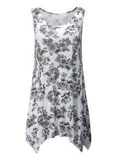White Tank Top Floral Round Neck Sleeveless Print Tops For Women