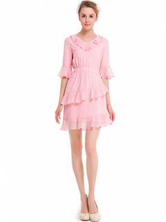 Women Skater Dress Pink V Neck Half Sleeve Ruffles Chiffon Polka Dot Print Mini Dresses