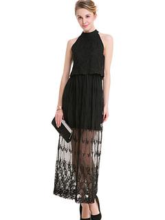 Black Maxi Dress Women Formal Dress Round Neck Sleeveless Long Dress