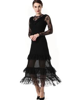Black Maxi Dress Women Long Dress Illusion Round Neck Long Sleeve Layered Slim Fit Dress