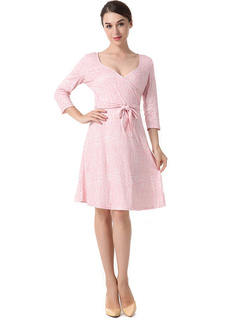 Women Skater Dresses Pink V Neck Long Sleeve Printed Wrap Dress