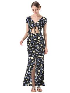 Women Maxi Dresses Floral V Neck Short Sleeve Ruffles Split Cut Out Long Beach Dress