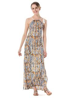 Women Maxi Dresses Yellow Straps Sleeveless Chiffon Printed Split Long Dress