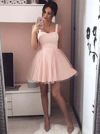 4628b81842 Pink Skater Dress Short Prom Dress Tulle Straps Women Flared Homecoming  Dress