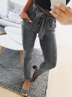 Women Skinny Pants Elastic Tie Waist Grey Trousers