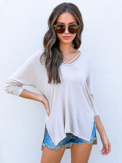 White Women Hoodie Slit Long Sleeve Cotton Spring Top