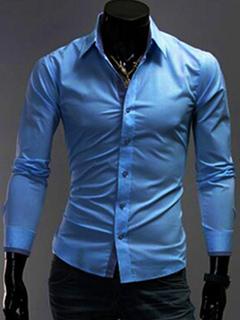 Men Dress Shirt Blue Turndown Collar Long Sleeve Cotton Shirt