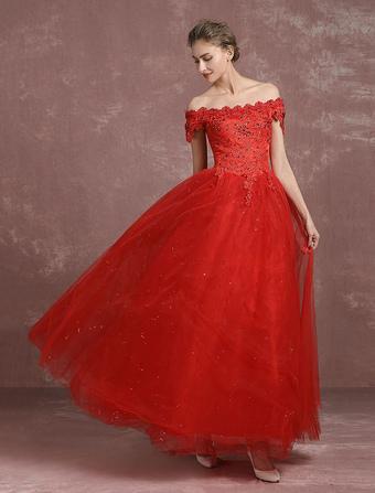 red wedding dress | Milanoo.com