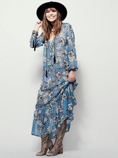 f3337145ef3e Boho Maxi Dress in Chiffon leggero immergendo collo manica lunga blu  floreale stampato abito lungo plissettato