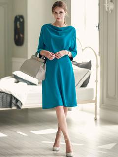 Blue Skater Dress Bateau Neckline 3/4 Length Sleeve Pleated Flare Dress For Women